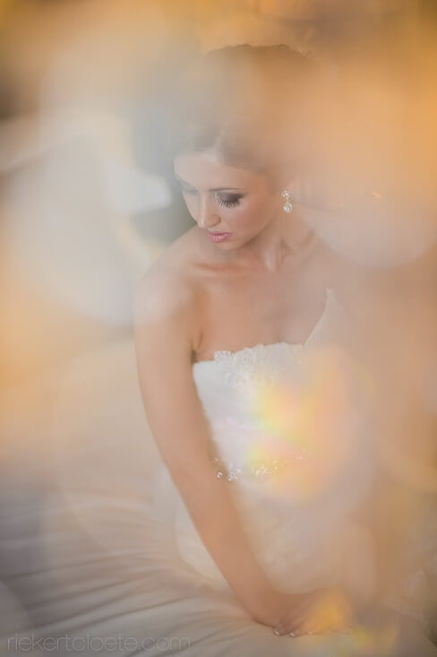 Bride looking at shoulder