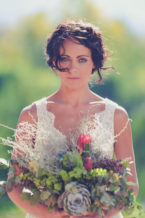 Bride looks at camera
