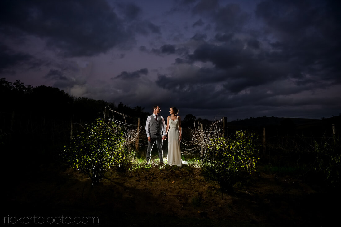 Wedding photo at night