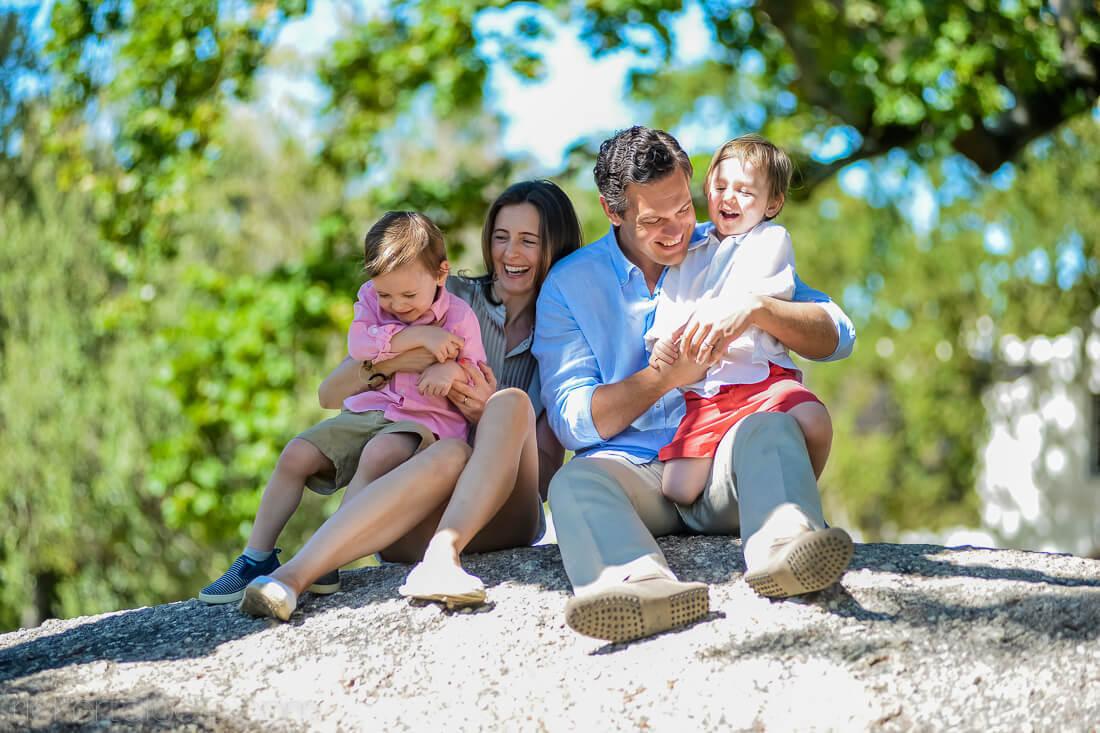 Family on boulder