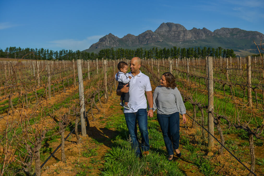 family in vineyard