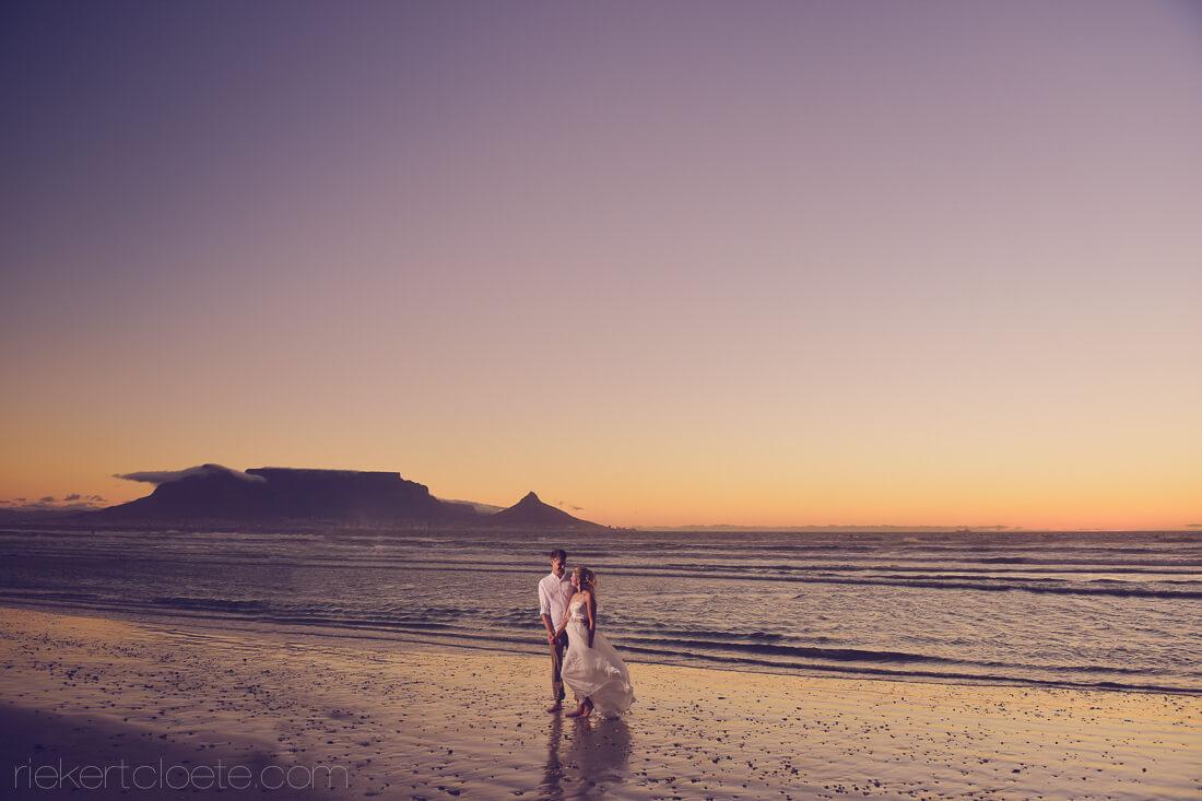 Table mountain beach wedding