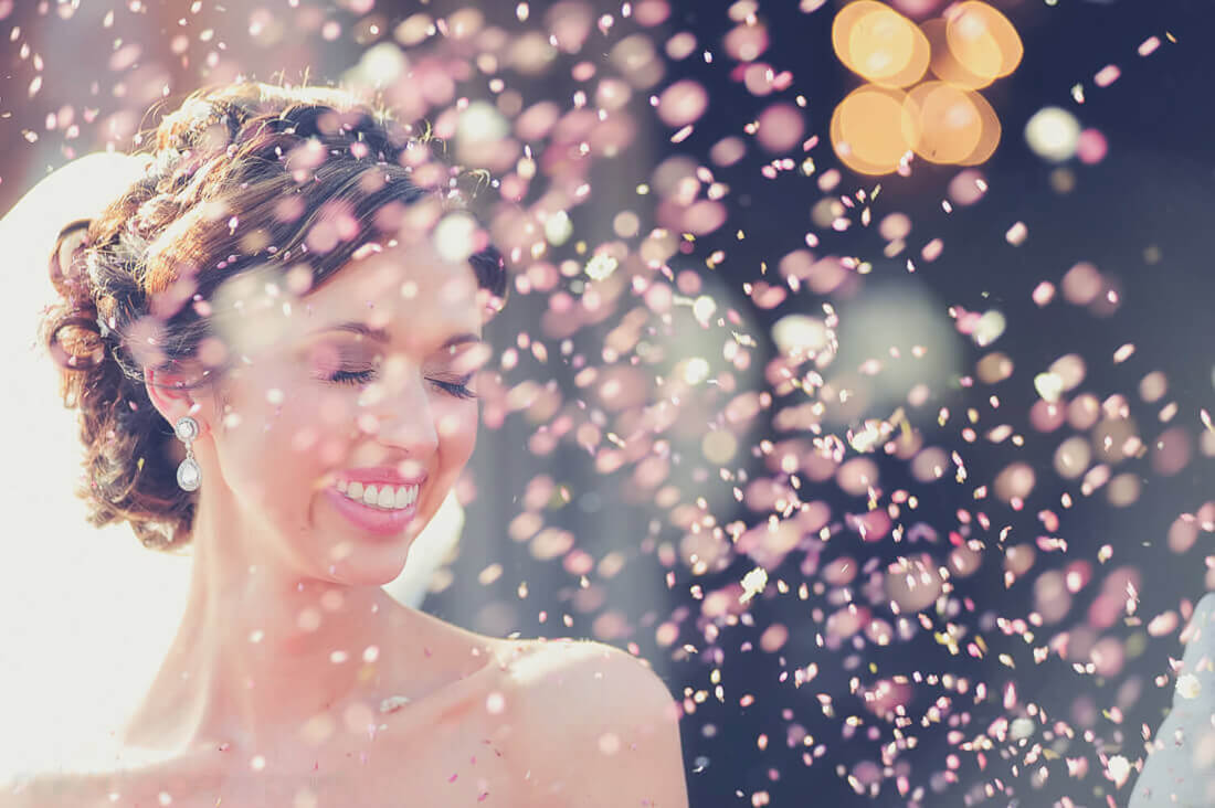 Confetti on bride