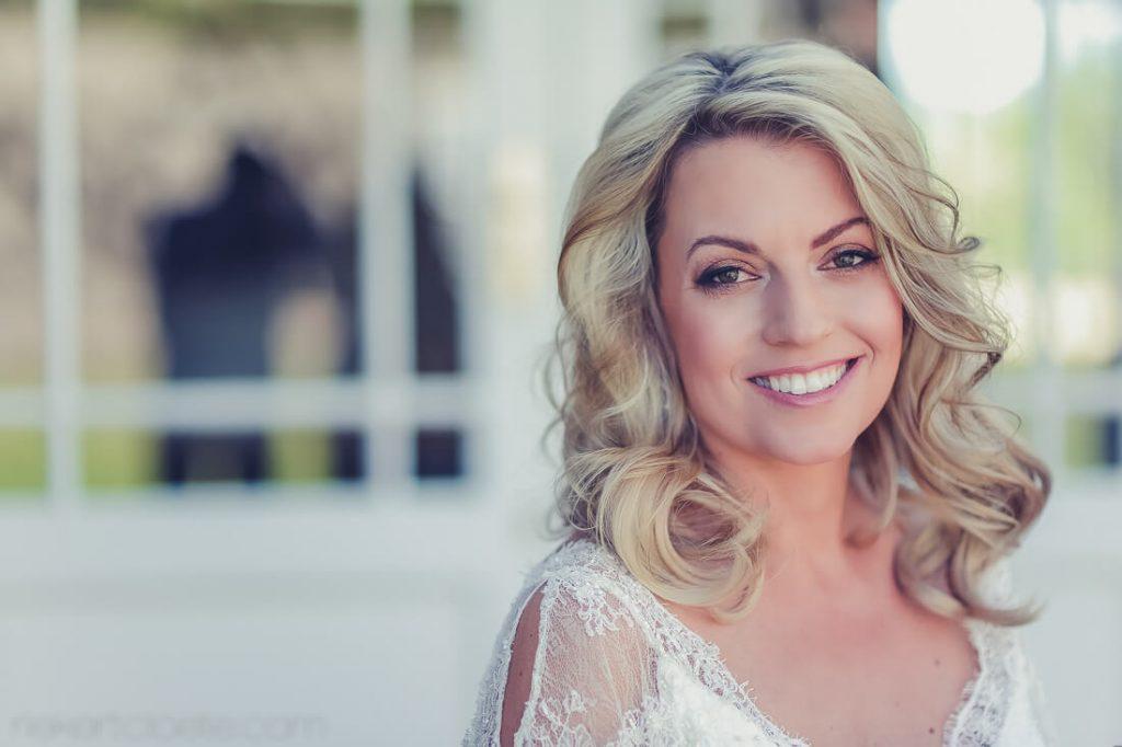 Blonde bride looking at camera