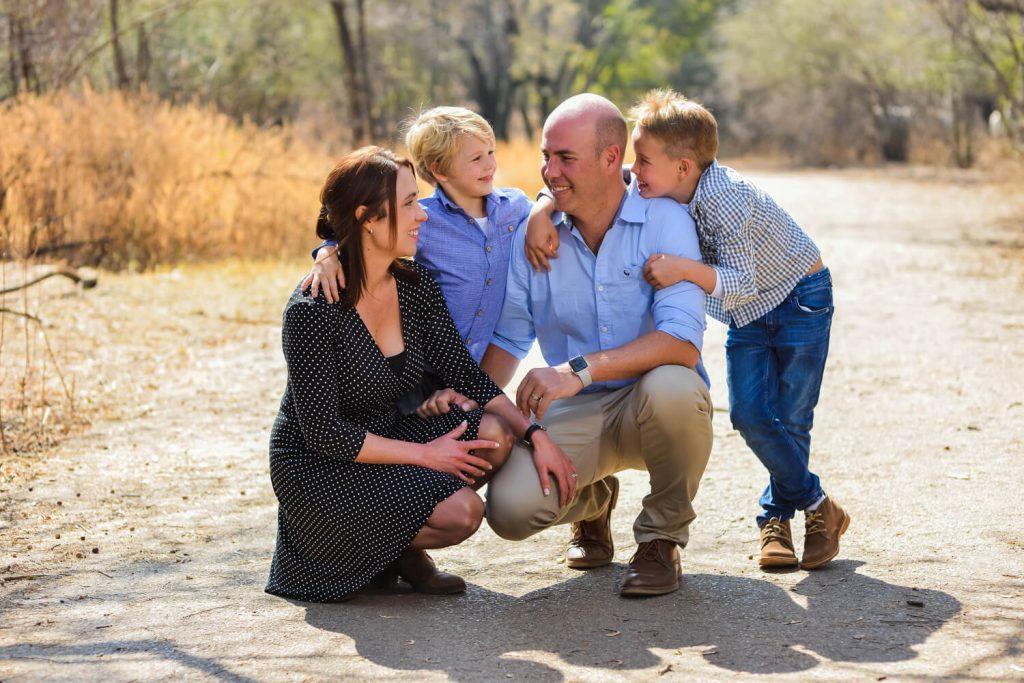 family kneeling